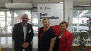 Minister Sue Ellery (centre) with Kay Gerard, Textiles, Clothing and Footwear IRC and David Galbraith, IBSA Manufacturing